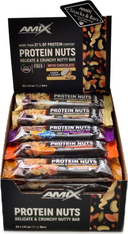 Amix Protein nuts 25 x 40g delicate crunchy bar   Sportovní výživa ...